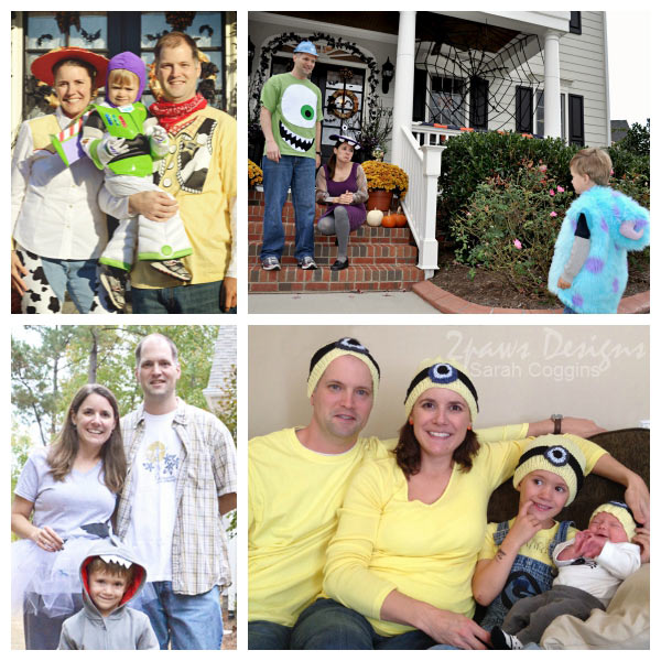 Family Halloween Costumes collage: Toy Story, Monsters Inc, Sharknado, and Minions