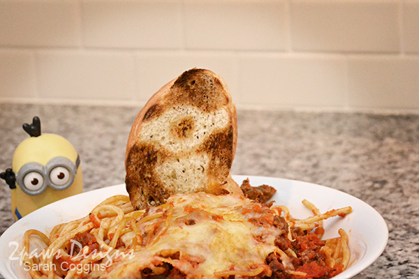 Baked Spaghetti with Minions French Bread