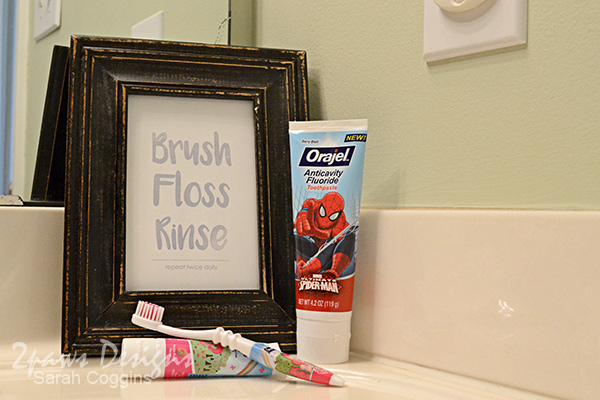 """Brush Floss Rinse"" Bathroom Art"
