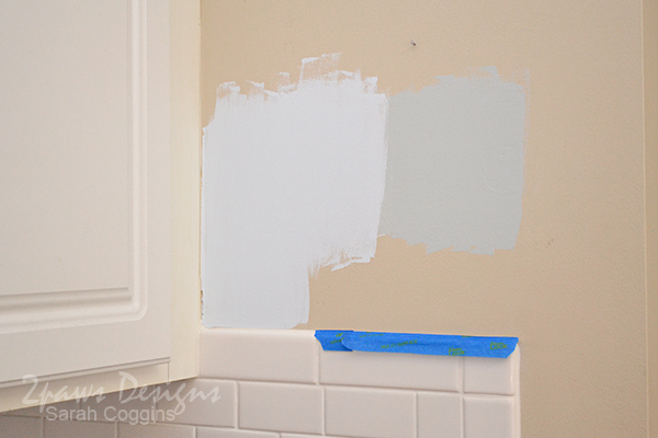 Kitchen Makeover: Paint Samples on the Wall