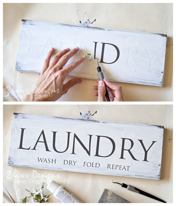 DIY Laundry Room Sign: Peel Vinyl Letters