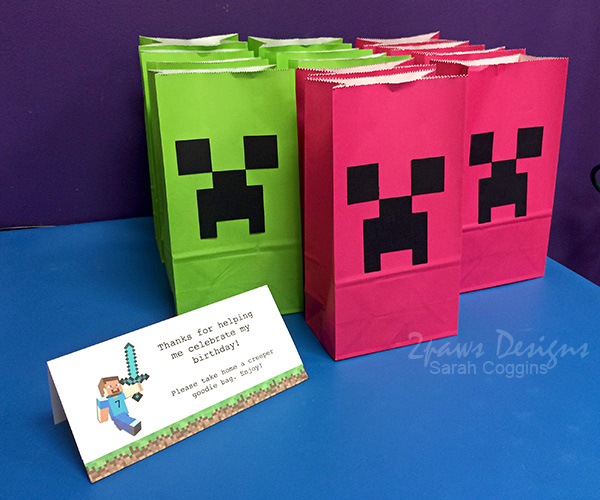 Minecraft Birthday Party: Green & Pink Creeper Goodie Bags