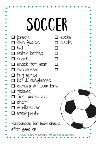 Soccer List Printable