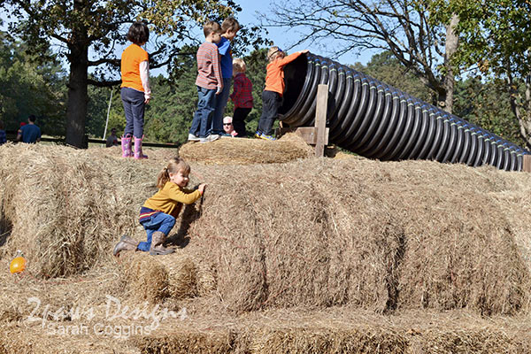 Pumpkin Birthday Party: hay bale slide