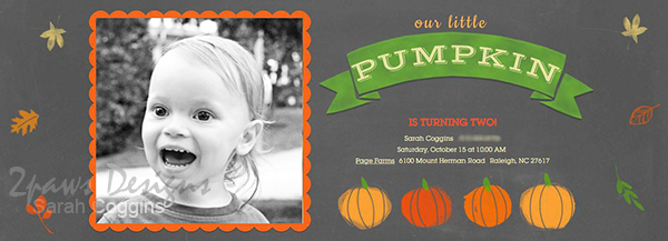 Pumpkin Birthday Party: invitation