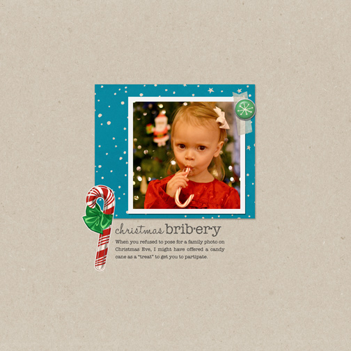 Christmas Bribery: Candy Cane digital scrapbook page