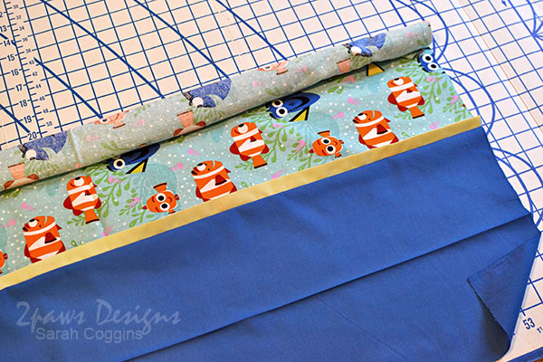 Finding Dory Pillowcase: Open Fabric and Roll Toward Band
