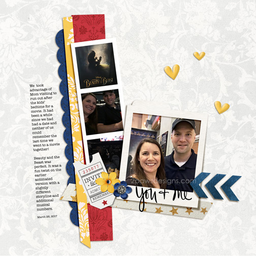 Beauty and the Beast Date Night digital scrapbook page