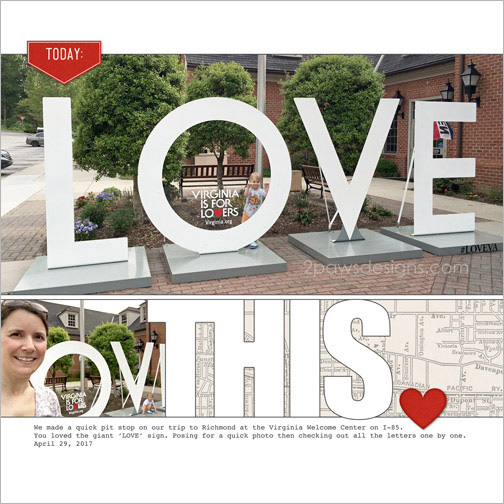 LOVE Sign at Bracey Welcome Center digital scrapbook page