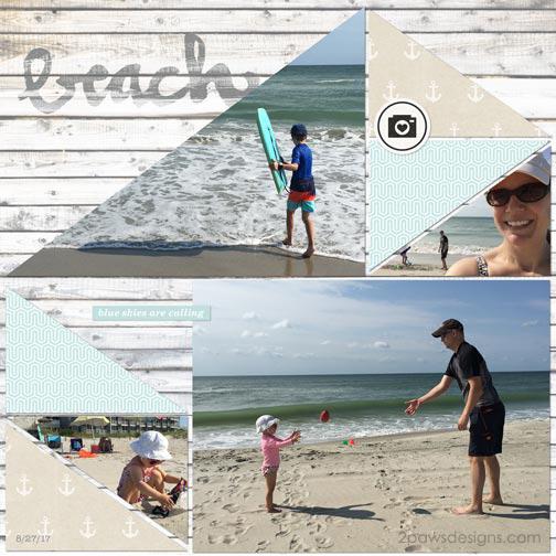 Beach Day digital scrapbook page - August 2017