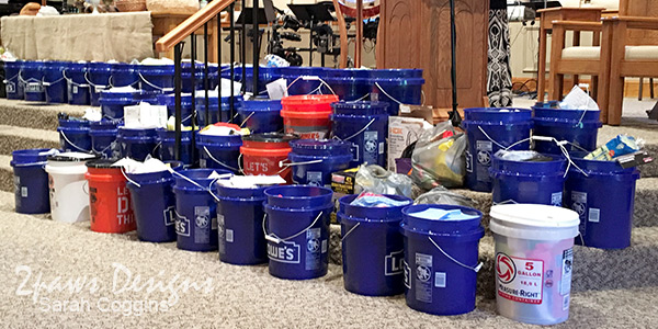 UMCOR Flood Buckets in Church Sanctuary