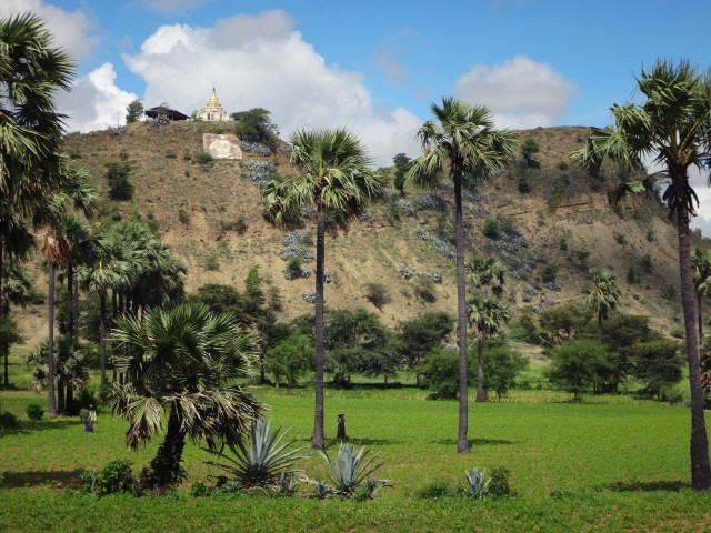 A hilltop stupa.