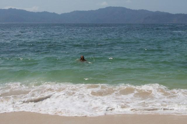 A brisk swim in Green Bay.