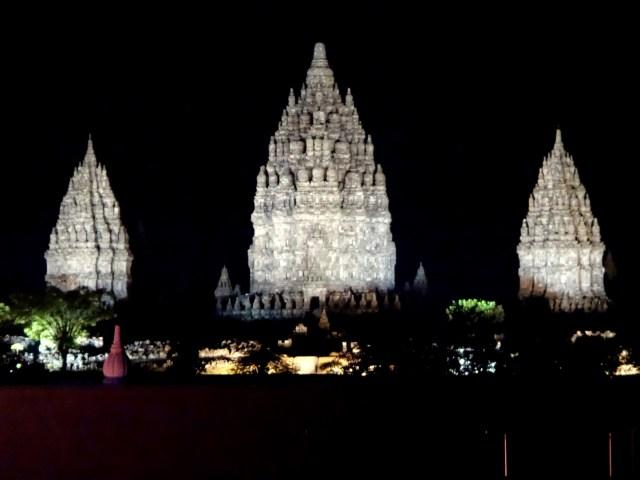 Prambanan lit up at night, the backdrop for the ballet.