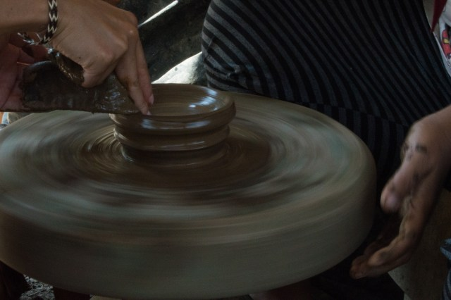 Pottery making.