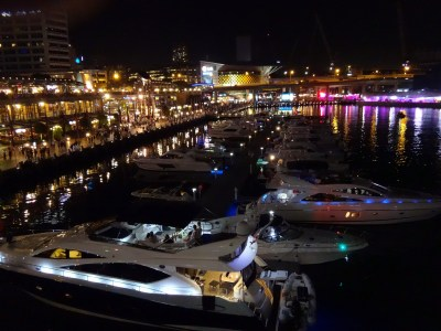 Darling Harbour at night.