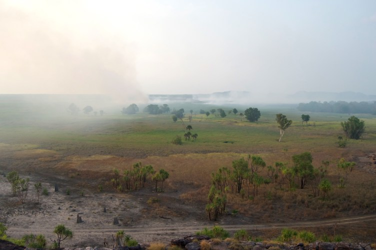 Smoke over Ubirr.