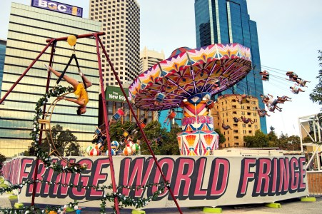 The Fringe fairground at Elizabeth Quay.