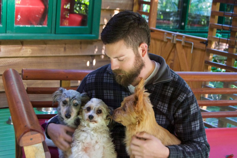 Chris with Sprocket, Lily, and Ochre.