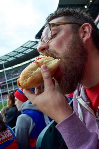 Necessary stadium hot dog.