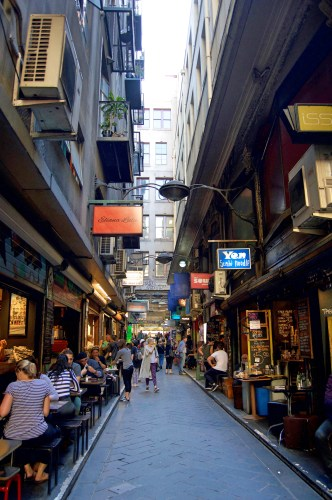 Many laneway shops and cafes.