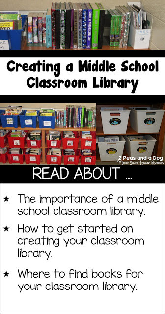 It can be a challenge to create a dynamic and useful middle school classroom library from scratch. Read to find out lots of great organization and book acquiring tips from 2 Peas and a Dog.