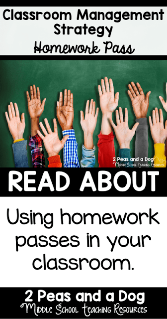 Middle school classroom management requires a teacher to have many different strategies at their fingertips. Add the homework pass strategy to your classroom management plan to help engage and reward students from the 2 Peas and a Dog blog.
