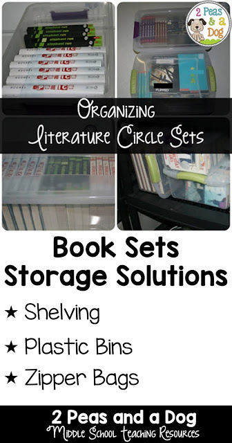 Tips and photos on how to organize your book clubs, literature circle or guided reading novel sets by 2 Peas and a Dog.