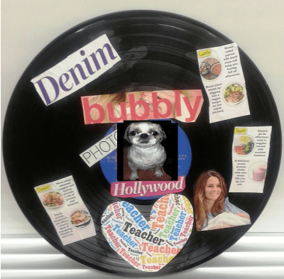 A technology themed art lesson using old records and magazine cut outs.