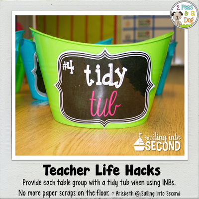 Teacher Life Hack - use tidy tubs to keep floors neat during interactive notebook activities in the classroom.