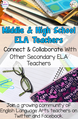 Connect & collaborate with other secondary ELA teachers. Join a growing community of middle school and high school English Language Arts teachers on Twitter and Facebook. We chat weekly on Tuesdays at 8pm on Twitter on focused topics while our Facebook group is an open forum for sharing ideas and asking questions. Whether you are a new or experienced teacher, the #2ndaryELA community will inspire and invigorate your teaching.