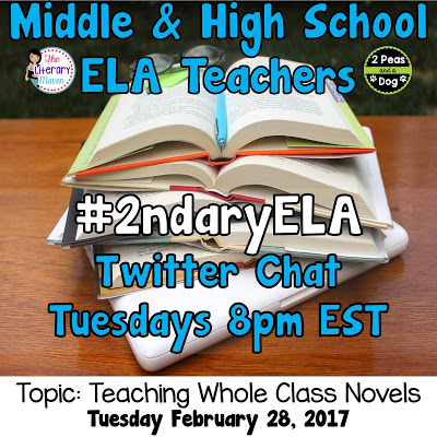 Join secondary English Language Arts teachers Tuesday evenings at 8 pm EST on Twitter. This week's chat will be about teaching whole class novels.