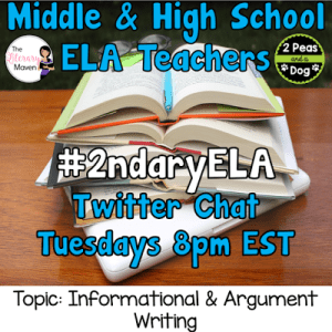 #2ndaryELA Twitter Chat on Tuesday 9/26 Topic: Informational & Argument Writing