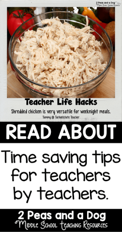 Too tired to make a nutritious and delicious dinner? Busy teachers try this teacher life hack and save time by checking out the possibilities of shredded chicken from the 2 Peas and a Dog blog.