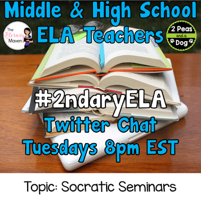 Join secondary English Language Arts teachers Tuesday evenings at 8 pm EST on Twitter. This week's chat will be about socratic seminars.