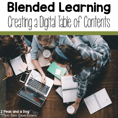 Use an online table of contents to help students stay organized from 2 Peas and a Dog. #blendedlearning #digitallearning #teaching #2peasandadog