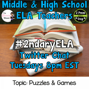 #2ndaryELA Twitter Chat on Tuesday 2/20 Topic: Puzzles & Games
