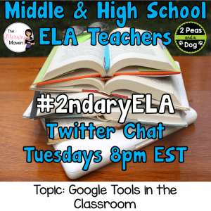 #2ndaryELA Twitter Chat on Tuesday 4/24 Topic: Google Tools in the Classroom