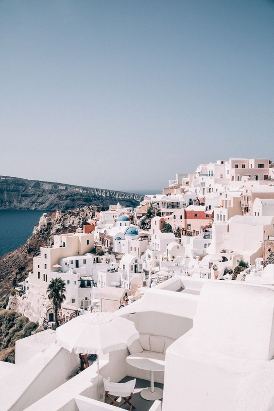 Greece - white houses on a cliffside