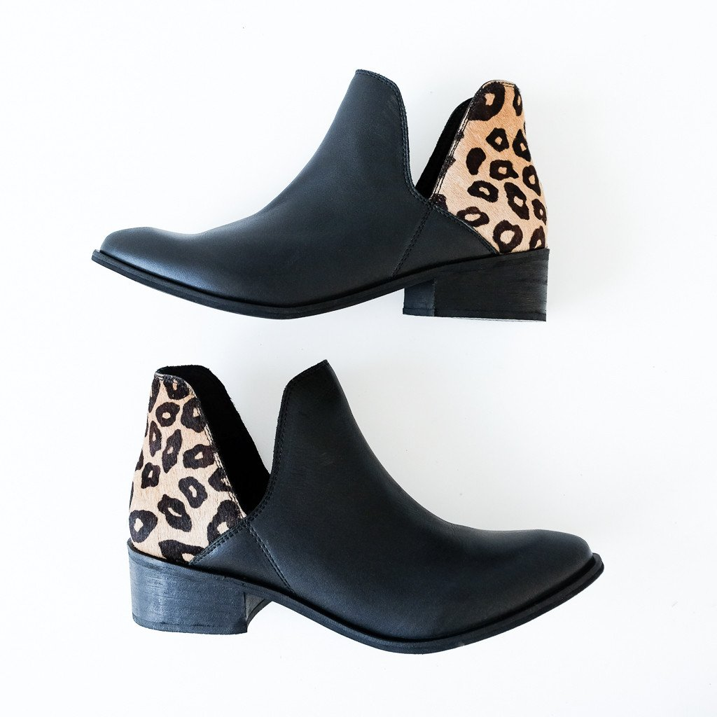 black boots with cheetah detail on heel for fall