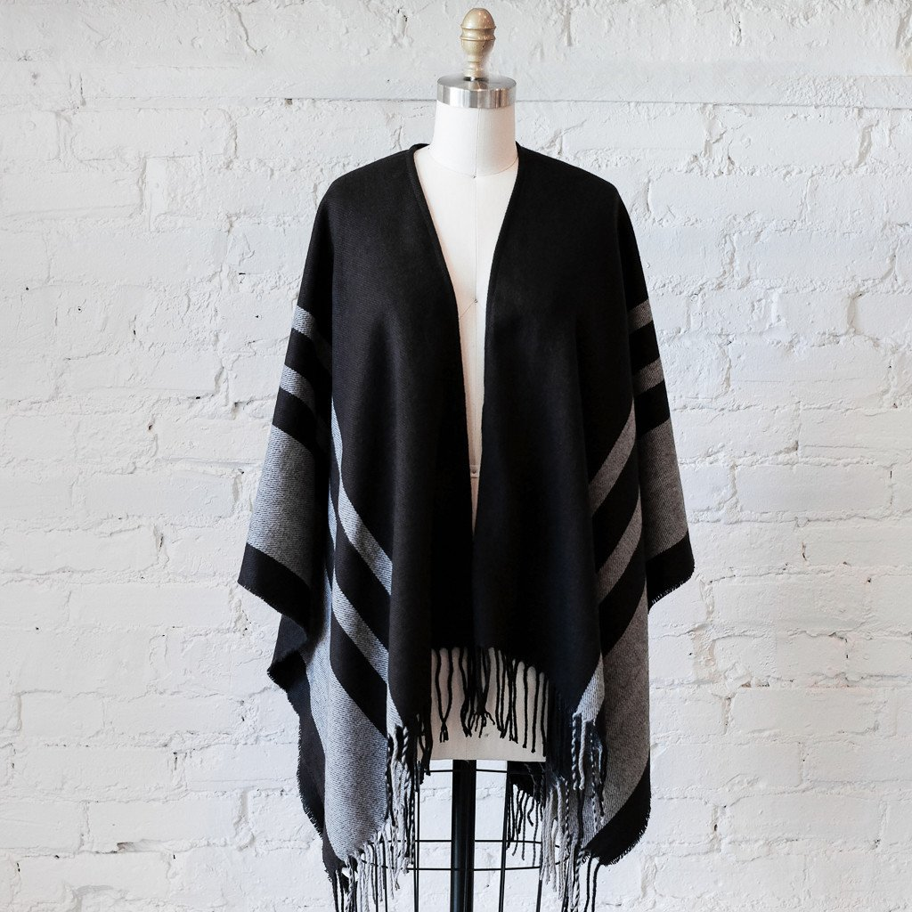 two penny blue striped cape in black for fall