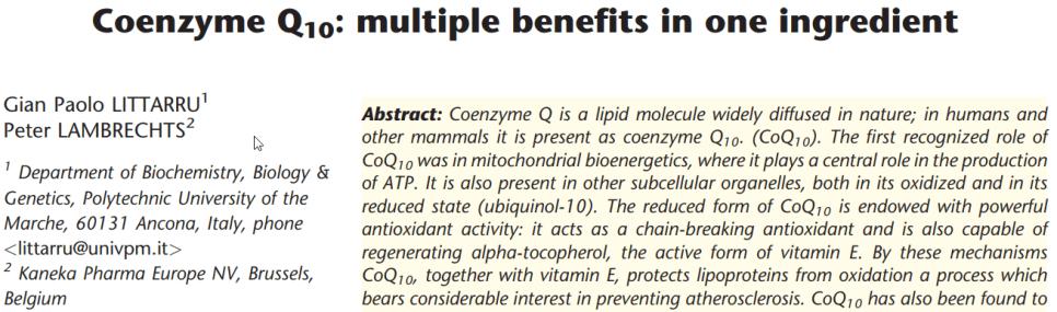 Q10 scientific paper on the multiple benefits of Q10