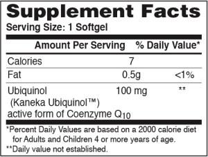 Health thru Nutrition H2Q Q10 supplement facts