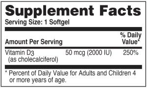 Vitamin D3 50mcg Supplement Facts
