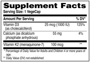 Vitamin K2 + D3 Supplement Facts