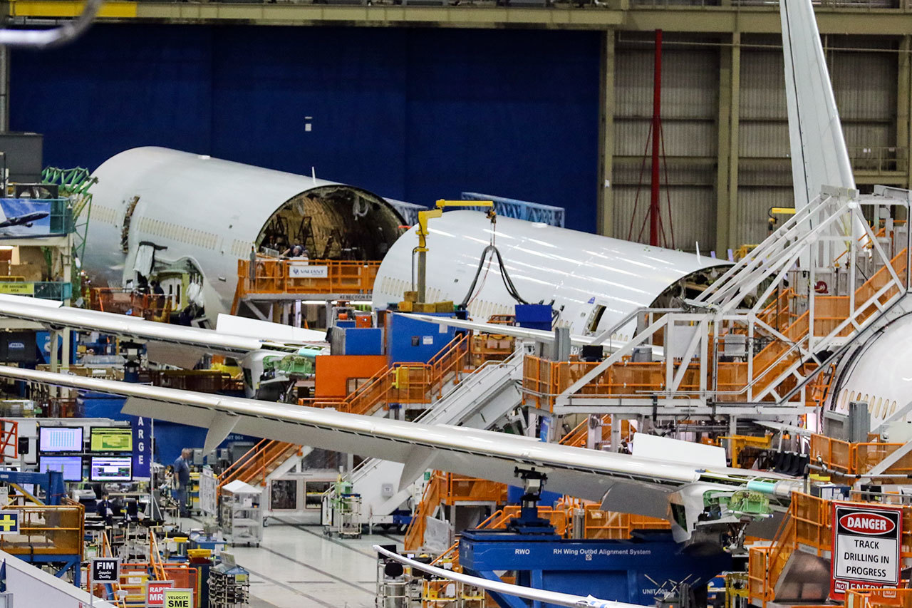 Currently in many pieces, the fuselage of the 500th 787is being assembled in Everett.                                 (Kevin Clark / The Herald)