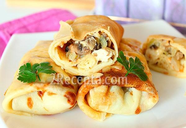 Блины с курицей и грибами пошаговый рецепт с фото