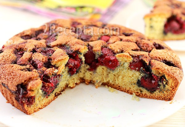Песочный пирог с вишней пошаговый рецепт с фото