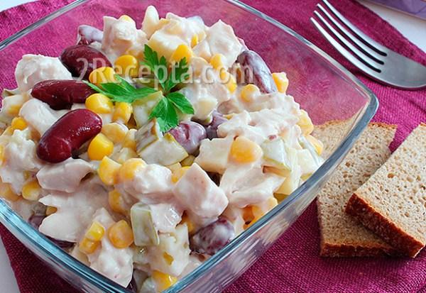 Салат с курицей, фасолью и сыром - пошаговый рецепт с фото
