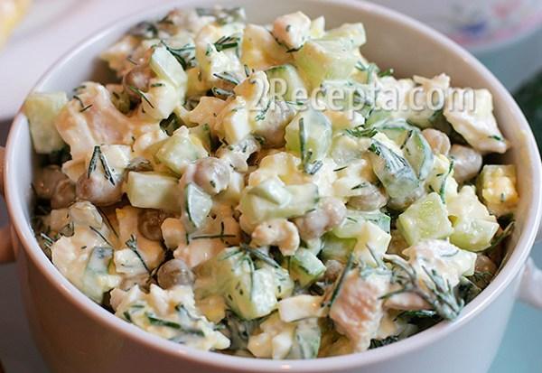 Салат с курицей и свежим огурцом - пошаговый рецепт с фото
